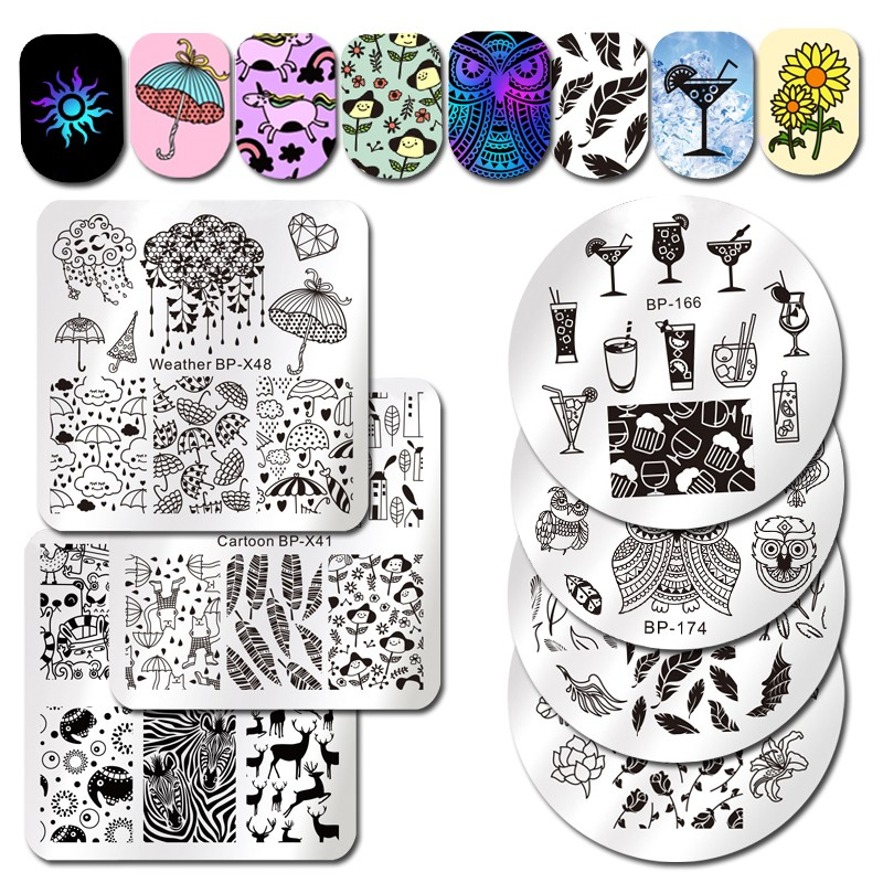 Born Pretty 1pc Stamping Plate Fruit Juice Beer Soda Drinks Retro Totem Flame Devil Scorpion