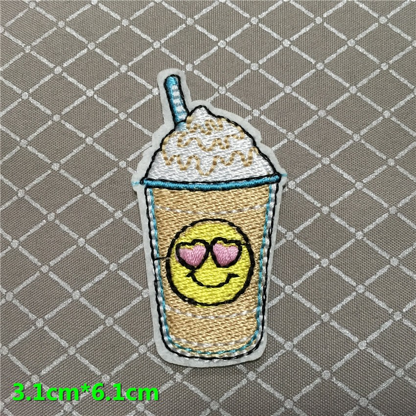 1pc New Cartoon Juice Drink Ice Cream Patch Embroidery Iron On