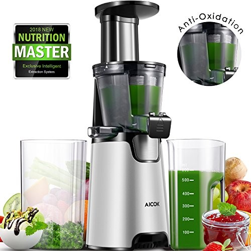 SEAAN Slow Masticating Juicer Extractor Machine Reverse Button Easy to Clean 43RPM 150W Motor Fruit Vegetable Cold Press Juicer 98/% Juice Yield Juice Machine with Juice Jug and Slag Cup